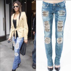 Robins Jeans Marilyn Gypsy Silver Studded Jean Y2K